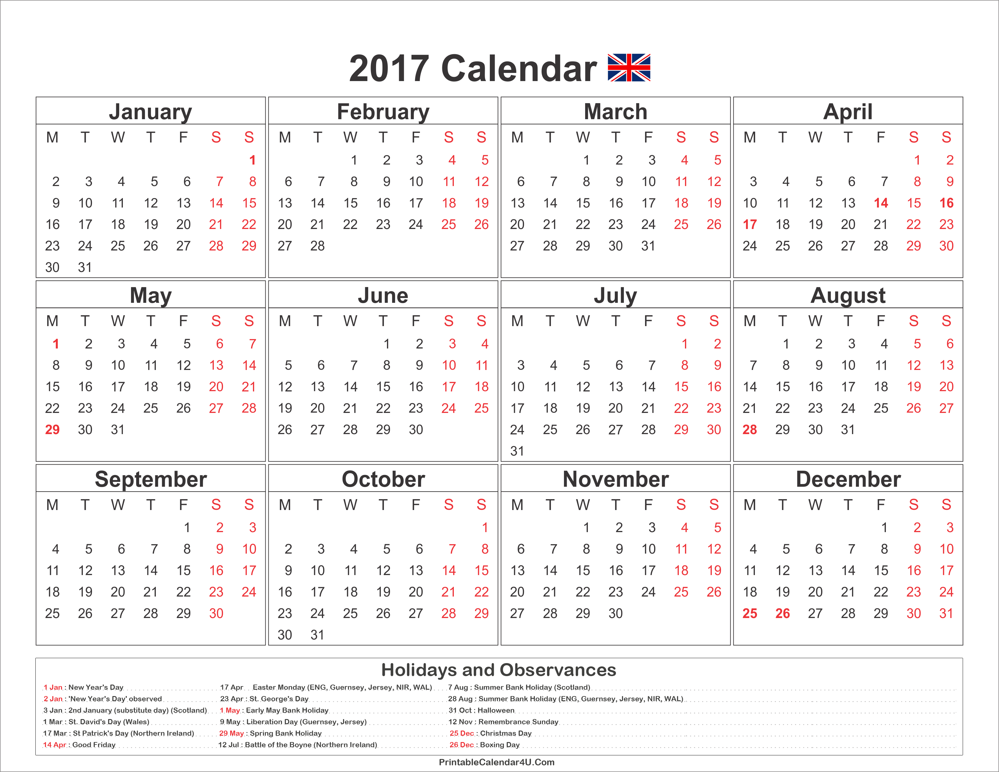 Calendar 2017 With Holidays : Calendar uk with holidays free printable