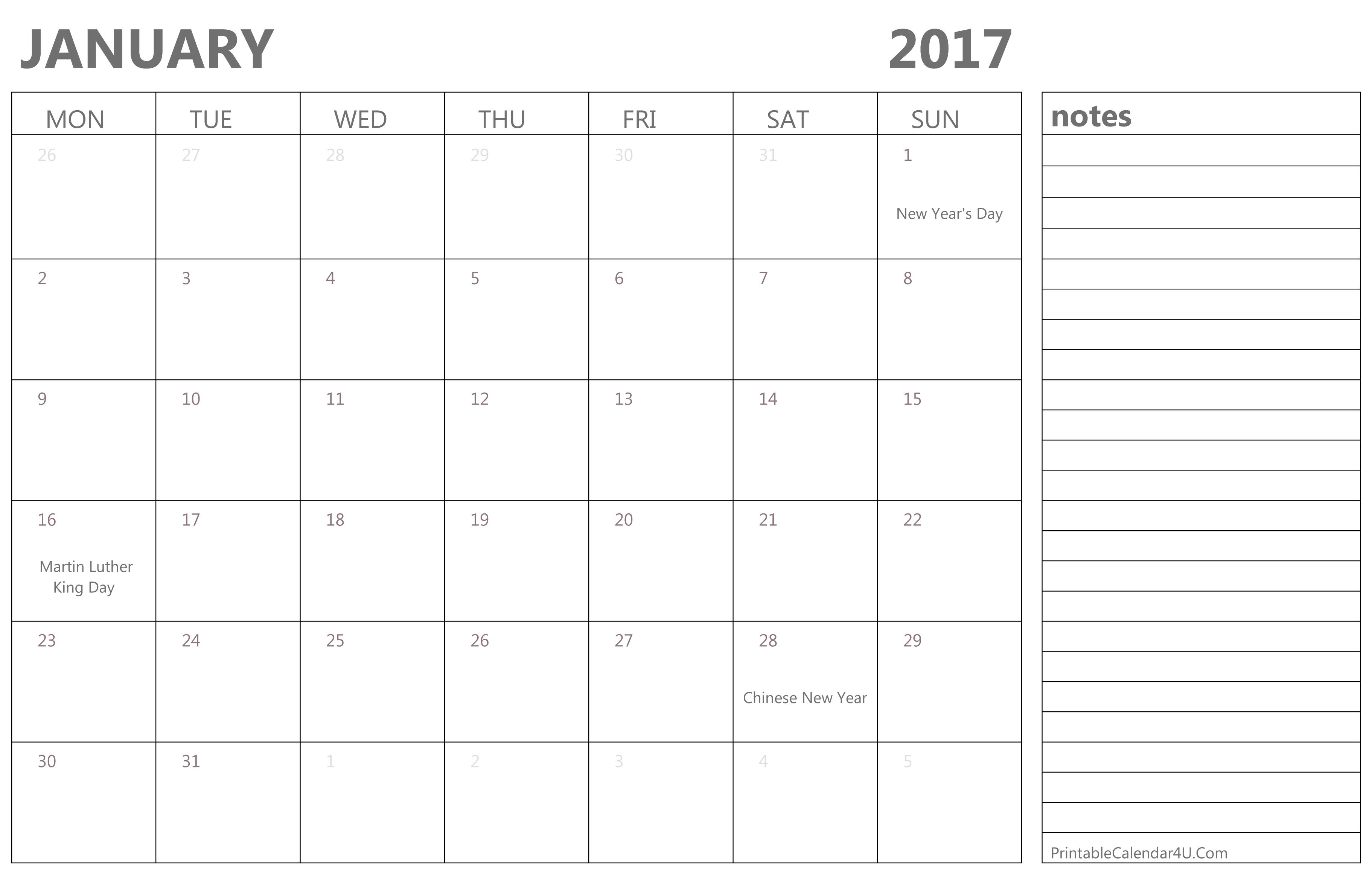 January Calendar 2017 With Holidays : Best january calendar printable with holidays and