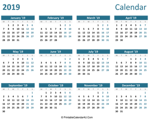 2019 calendar printable landscape layout