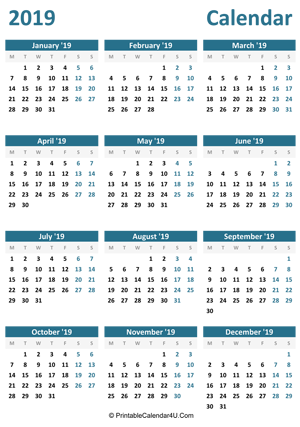 2019 calendar printable portrait layout