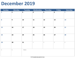 2019 december calendar with notes