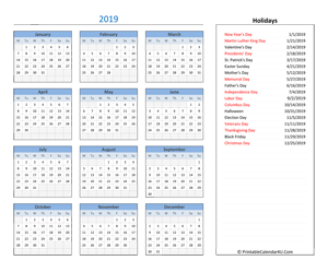 2019 printable calendar with holidays
