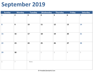 2019 september calendar with notes