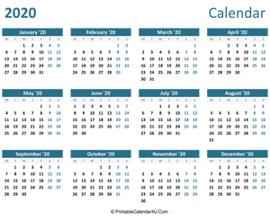 2020 calendar printable landscape layout