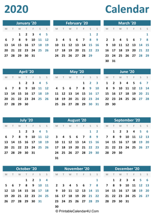 2020 calendar printable portrait layout