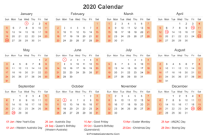 2020 calendar with australia holidays at bottom landscape layout