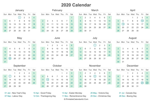 2020 calendar with canada holidays at bottom landscape layout