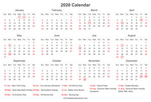 2020 calendar with uk bank holidays at bottom landscape layout