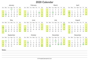 2020 calendar with us holidays and notes landscape layout