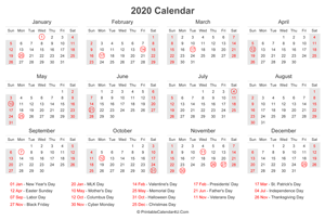 2020 calendar with us holidays at bottom landscape layout