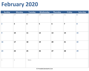 2020 february calendar with notes