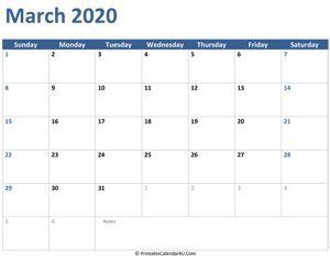 2020 march calendar with notes