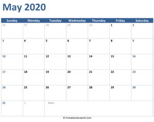 2020 may calendar with notes
