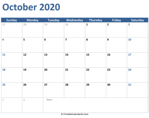 2020 october calendar with notes