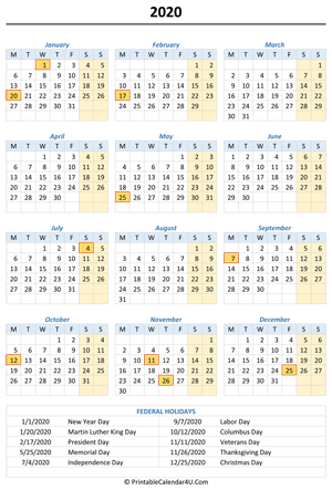 2020 portrait calendar with holidays