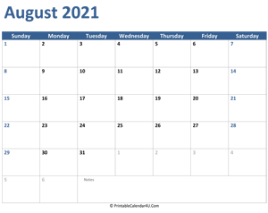 2021 august calendar with notes