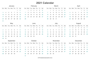 2021 calendar printable landscape layout