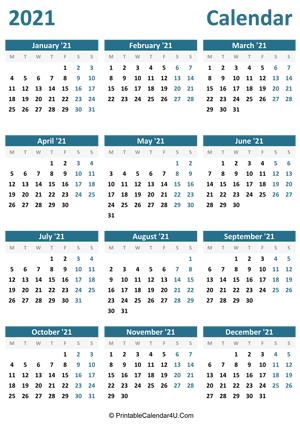 Printable Yearly Calendar 2021
