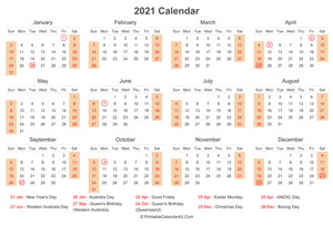2021 calendar with australia holidays at bottom landscape layout