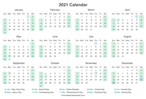 2021 calendar with canada holidays at bottom landscape layout