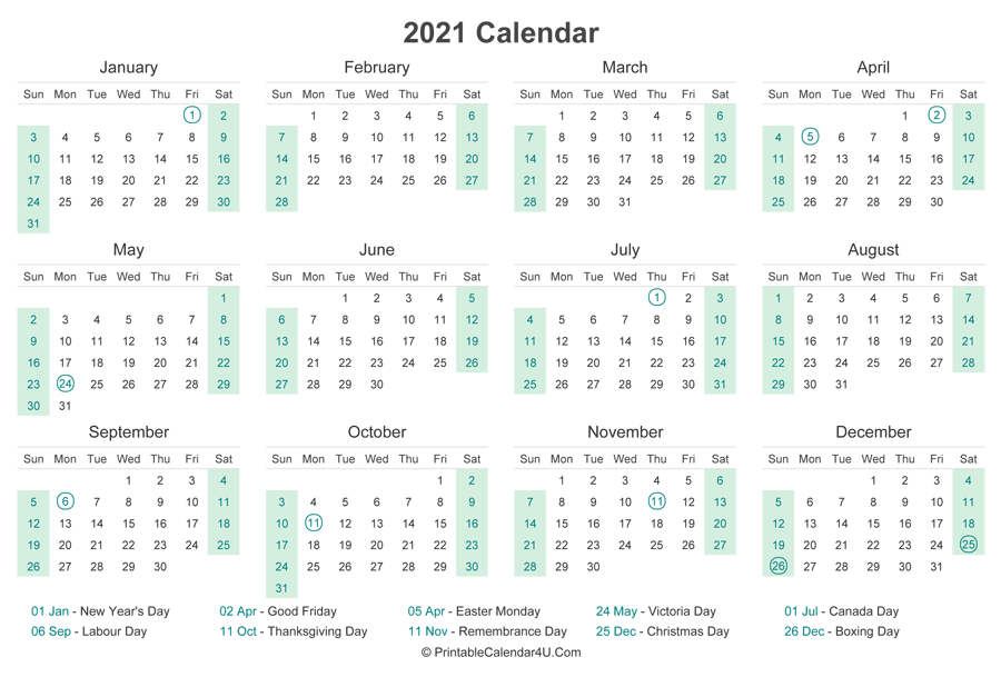2021 Calendar with Canada Holidays at bottom (Landscape ...