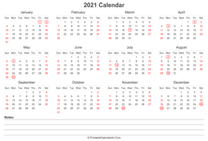 2021 calendar with uk bank holidays and notes landscape layout