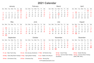 2021 calendar with uk bank holidays at bottom landscape layout