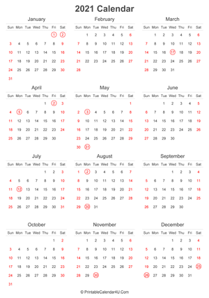 2021 calendar with uk bank holidays highlighted portrait layout