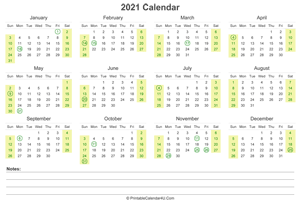 2021 calendar with us holidays and notes landscape layout