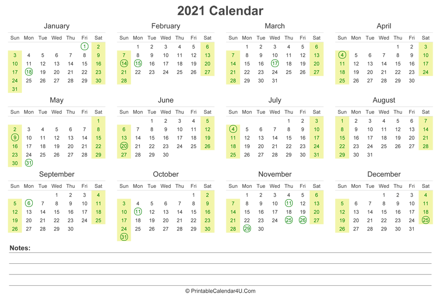 2021 Calendar with US Holidays and Notes (Landscape Layout)