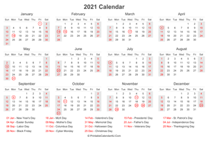 Printable Calendar 2021 - Yearly, Monthly, Weekly Planner ...
