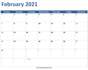 2021 february calendar with notes
