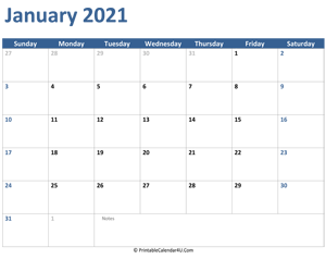 2021 january calendar with notes