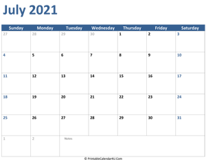 2021 july calendar with notes