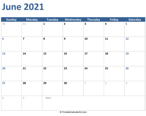 2021 june calendar with notes