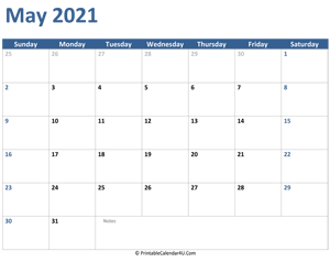 2021 may calendar with notes