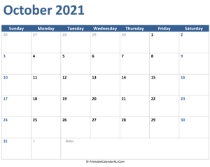 2021 october calendar with notes