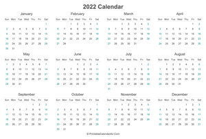 2022 calendar printable landscape layout