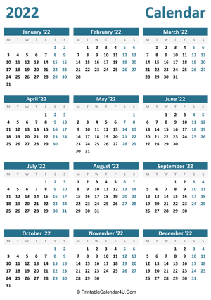 2022 calendar printable portrait layout