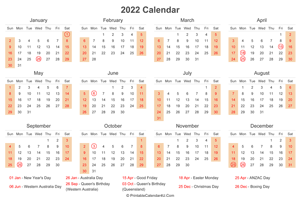 2022 calendar with australia holidays at bottom landscape layout