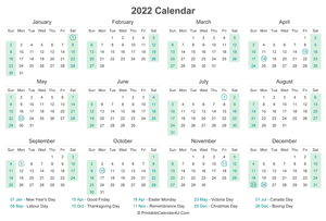 2022 calendar with canada holidays at bottom landscape layout
