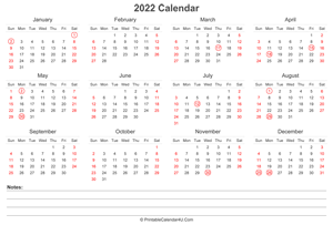 2022 calendar with uk bank holidays and notes landscape layout