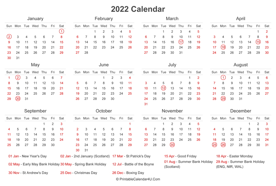 2022 Calendar with UK Bank Holidays at bottom (Landscape ...