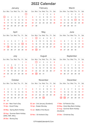 2022 calendar with uk bank holidays at bottom portrait layout