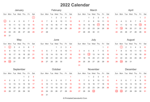 2022 calendar with uk bank holidays highlighted landscape layout