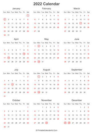 2022 calendar with uk bank holidays highlighted portrait layout