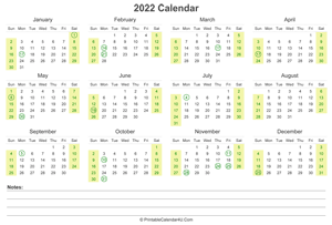 Printable Calendar 2022 - Yearly, Monthly, Weekly Planner ...