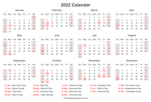 2022 calendar with us holidays at bottom landscape layout