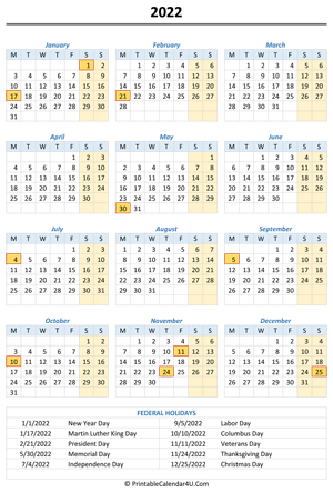 2022 portrait calendar with holidays