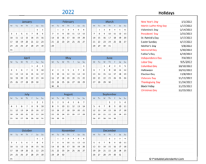 2022 printable calendar with holidays